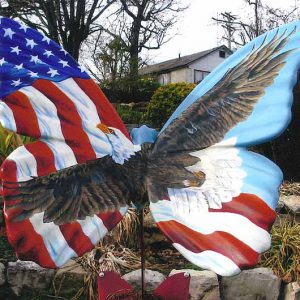 One of two butterfly sculpures in Veterans Memorial Garden in Branson, MO.
