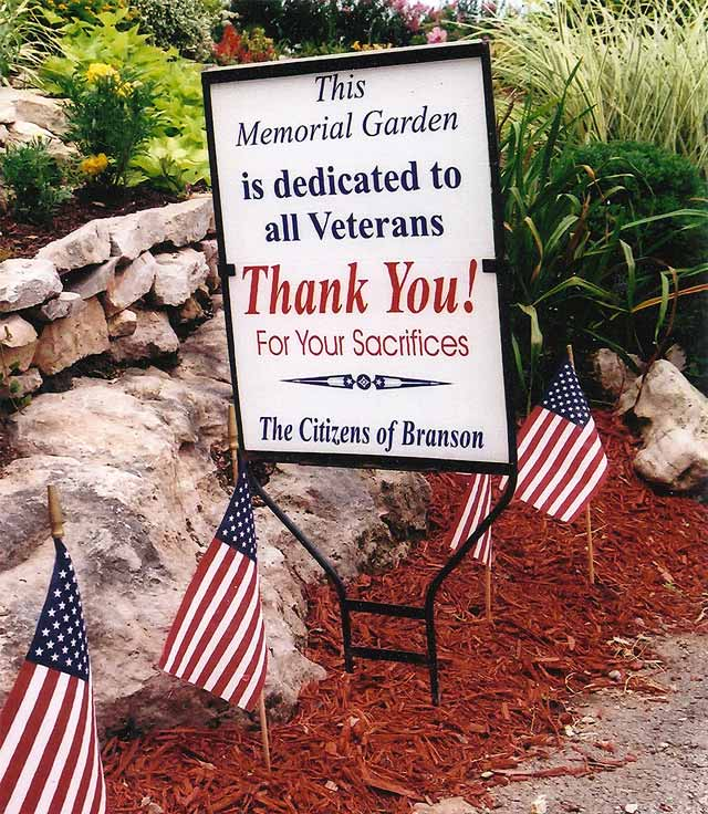 Dedication sign in Veterans Memorial Garden in Branson, MO.