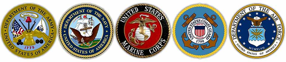 The seals of the 5 branches of the military.